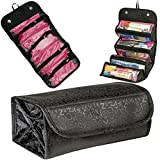 Rimobul Luxury Roll-N-Go Cosmetic Bag Roll Up Bathroom Organizer Black