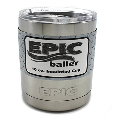 EPIC baller 10 oz Stainless Steel Vacuum Insulated Lowball Tumbler with Sliding Lid Thermal Coffee Cup and Mug Keeps Hot or Cold same Technology as Yeti Rambler Lowball