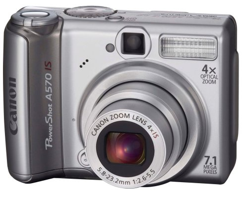 Canon PowerShot A570 IS is one of the Best Point and Shoot Digital Cameras for Travel, Child, Action, and Low Light Photos Under $400
