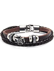 O.R.®(Old Rubin) Friendship Gift New Style Retro Punk Braided Cross Leather Rope Wrap Bracelet Brown with a Cross...