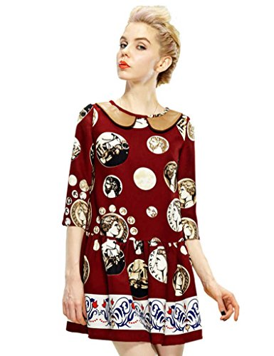 Elf Sack Womens Autumn Dress Three-Quarter Sleeve Artistic Portrait Retro Large Size