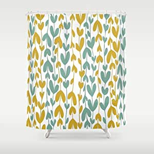 Society6 Yellow And Teal Leaves Shower Curtain By Jaymee