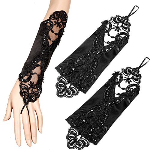 Lttdress Women's Accessory Party Wedding Satin Lace Fingerless Bridal Gloves Black