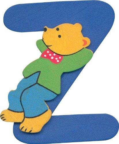Wooden alphabet letter Z with teddy bear design
