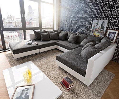 Couch-Clovis-Weiss-Schwarz-mit-Hocker-Wohnlandschaft
