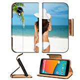 Luxlady Premium LG Google Nexus 5 Flip Case summer time and holiday breaks concept woman posing in white bikini with hat IMAGE 26348448 Pu Leather Card Holder Carrying