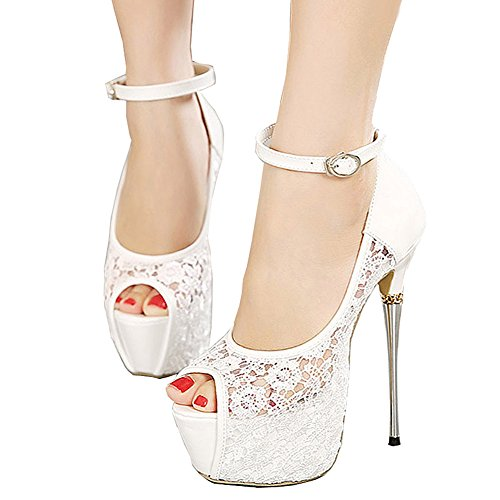 Getmorebeauty Women's White Lace Flower Strappy Hollow High Heels 6 B(M) US