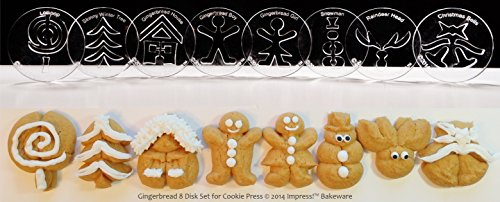 Gingerbread 8 Disk Set for Cookie Presses (SIZE M disks for presses that came with METAL disks)