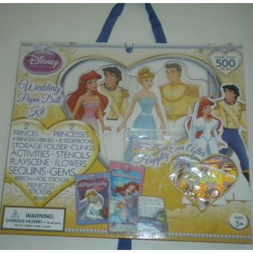Disney Princess Wedding Paper Doll Kit Cinderella Ariel Carry Case 500+ Pieces