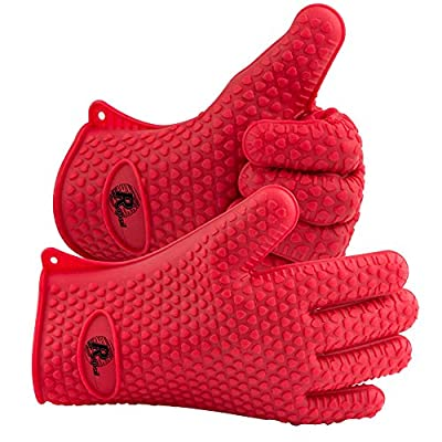 High Heat Resistant Silicone BBQ Grill Gloves - Oven Mitt - *A Pair* FDA Approved Premium Grade Silicone - Lifetime Guarantee