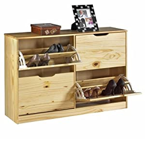 meuble rangement chaussures basil pin vernis naturel 39 2x2 abattants 39 cuisine. Black Bedroom Furniture Sets. Home Design Ideas