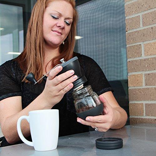 Khaw-Fee HG1B Hand Coffee Grinder with Ceramic Burr, Glass Jar and Storage Lid in Black