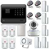 Golden Security Wireless Touch Screen Keypad LCD Display WiFi Internet GSM GPRS SMS OLED Home House Security Alarm System APP Control + IP Camera App Integrated In Alarm App