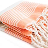 Bohemian Bamboo Hand Size Pestemal with Orange Stripes on Ecru . Turkish Hand Towel . Hair Pestemal .