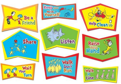 "Eureka Dr. Seuss Classroom Rules Bulletin Board Sets, 4 Panels 17 X 24"" Each front-714102"