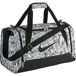 Nike Brasilia 6 Graphic Duffel Bag Small, Pure Platinum/Black