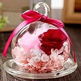 ティートサイト プリザーブドフラワー 枯れないお花 「ガラスポット入り バラ 2輪」ピンク