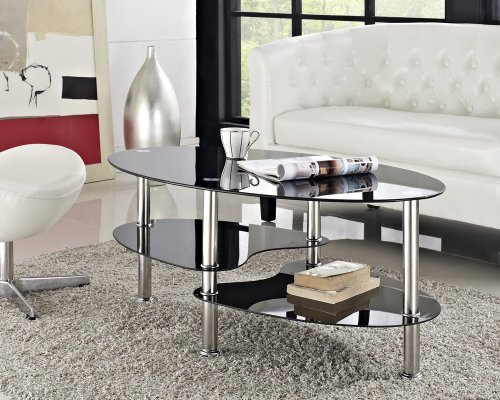 Cara Coffee Table Black Clear Glass Chrome Oval (Black)