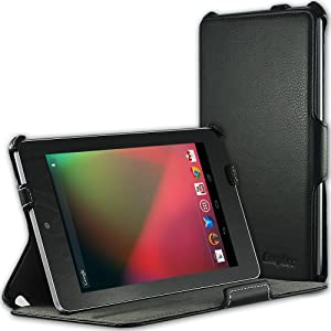 EasyAcc Nexus 7 Hülle Leder Tasche Folio Smart Cover mit Multi Ständer für Google Nexus 7 Tablet ASUS 8GB/16GB/32GB Wi-Fi mit Auto Sleep Wake Funktion. (PU Leder, Schwarz, UltraSlim)
