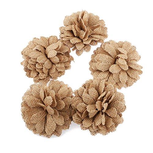 NUOLUX Hessian Burlap Daisy Flowers for Christmas Wedding Decoration 5pcs