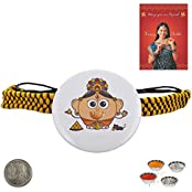 Little India Send Lord Ganesha Cute Design Badge Rakhi To Brother Rakhi Raksha Bandhan Gift Band Moli Bracelet...