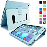 Snugg iPad Air (iPad 5) Case in Baby Blue Leather - Flip Cover and Stand with Automatic Wake / Sleep, Elastic Hand Strap & Soft Premium Nubuck Fibre Interior to Protect Apple iPad Air (iPad 5) - Includes Lifetime Guarantee