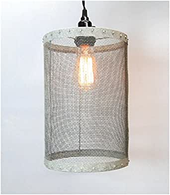 mesh wire barrel pendant light fixture aged galvanized. Black Bedroom Furniture Sets. Home Design Ideas
