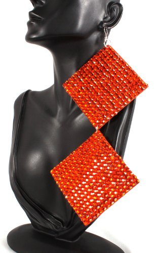 Basketball Wives Earrings Orange Square 8 Inch Drop Poparazzi Earrings Light Weight Iced Out