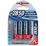ANSMANN Rechargeable AA Battery 2850mAh Slimline high-capacity rechargeable NiMH Batteries (4-Pack)