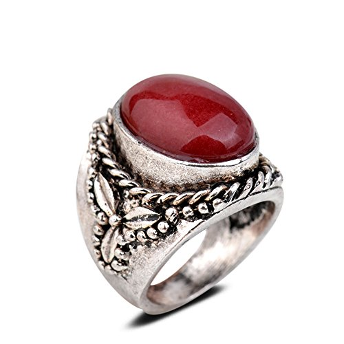 Yazilind Vintage Antique Oval Cut Red Jade Retro Silver Plated Embossed 9 Ring Women