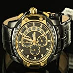 Black Golden Real Diamond Sleek Men Father Special Aqua Master Leather Watch New