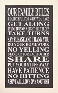 My Word Wood Framed Sign, 15 by 24-Inch, Our Family Rules