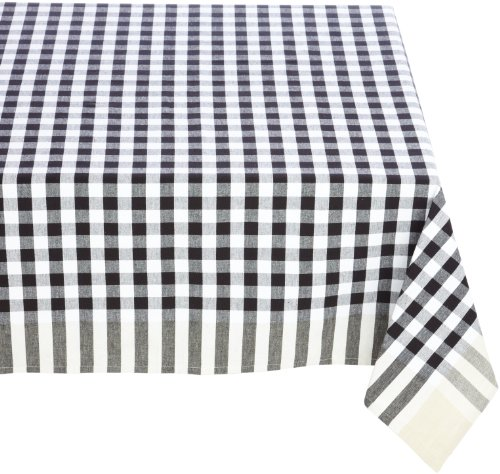 Mahogany Small Check 100-Percent Cotton 60-Inch By 60-Inch Euro Tablecloth, Black and White