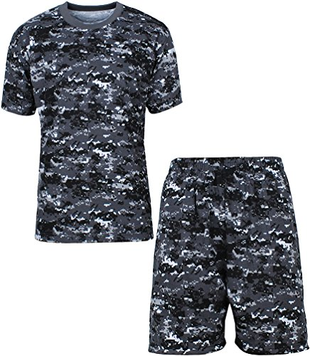 Angel Cola Men's Cotton Camouflage T Shirt and Short Lounge Set Gray XL Cotton Camouflage Shorts