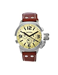 TW Steel Men's TW5 Canteen Brown Leather Cream Dial Watch