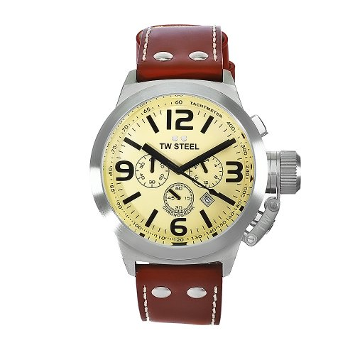 TW Steel Unisex Quartz Watch with Beige Dial Chronograph Display and Brown Leather Strap TW5