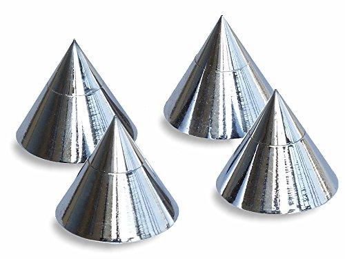 Ricable SK4 - Kit 4 pz. Punte Spikes conici Cromati in metallo 36 grammi torniti dal pieno con foro passante oppure da appoggio. Supporti regolabili per diffusori acustici Hi-Fi con sottopunte. Feltrini in EVA inclusi