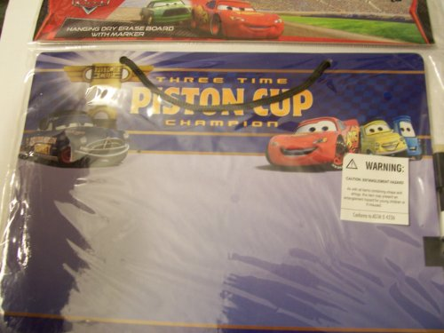 Disney Cars Hanging Dry Erase Board with Marker ~ Three Time Piston Cup Champion (Navy) by Innovative Designs - 1