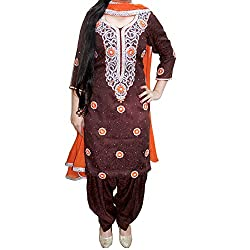 Reet Glamour Women 's Cotton Unstitched Coffee Brown Punjabi Suit