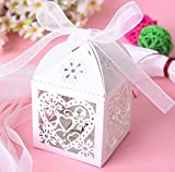 Pumud White & Pink Love Heart Laser Cut Gift Candy Boxes with Ribbon Wedding Party Favor Box (100, White)