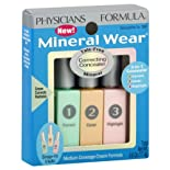 Physicians Formula Mineral Wear Mineral Correcting Concealer, Medium Coverage, Green/Light/Pink Trio 7061, 3 ct.