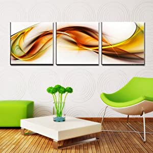 "Abstract Ready to Hang Set of 3 Digital Wall Art Prints Mounted on Fiberboards/Better than Canvas Arts (4) 20""x20""X1""(each panel)X3Panels)"