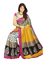 Vipul Mysore Silk Yellow Traditional Print Saree With Pink Border