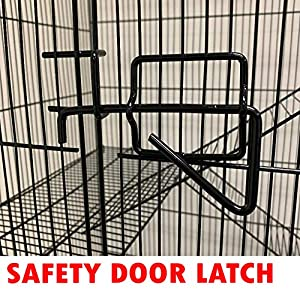 55 Extra Large 5 Levels 3/8-Inch Tight Wire Spacing Guinea Pig Sugar Glider Animal Wire Cage (Color: Black, Tamaño: 30L x 18W x 55H)