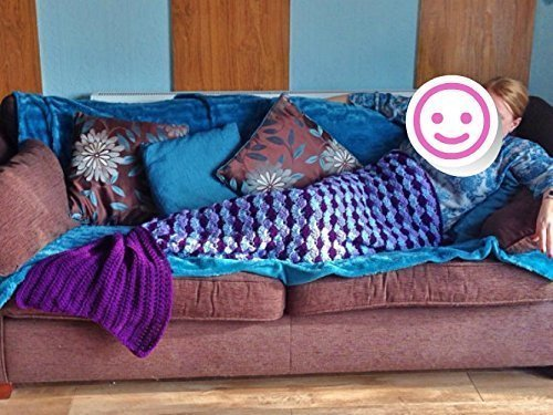 Mermaid Tail, Hand Crochet Adult Mermaid Tail in 3 Sizes, Custom colours, Mermaid Tail Blanket/Afghan with (Homemade Mermaid Costume For Adults)