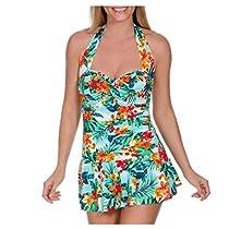 Suddenly Slim by Catalina Women's Retro Flirty Slimming Swimdress (Medium, Aloha)
