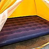 Milestone-Camping-Aufblasbare-Doppelluftmatratze-mit-Beflockung-Blau