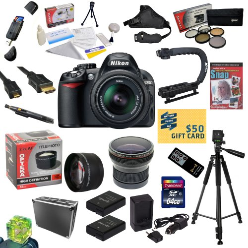 #>>  Nikon D3100 Digital SLR Camera with 18-55mm NIKKOR VR Lens With All Sport Accessory Package - Includes 64GB Transcend High Speed Memory Card + Card Reader + 2 Additional Extended Life EN-EL14 Replacement Battery Packs + AC/DC Dual Battery Charger + Opteka HD² 0.20X Professional Wide Angle Super AF Fisheye Lens + 2.2x HD2 AF Telephoto Lens + 52MM Professional 5 Piece Filter Kit (UV, CPL, FL, ND4 and 10x Macro Lens) + HDMI Cable + Heavy duty ABS hard-sided Pro Case + Wireless Remote Control Shutter Release + Professional Photo / Video 60