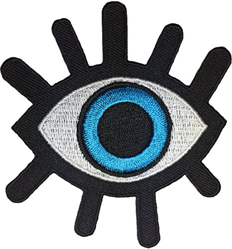 Eye Eyeball Tattoo Wicca Occult Goth Punk Rock Retro Applique Sew Iron on Embroidered Patch - Blue (EYE-BLUE) (Automotive Iron On Patches compare prices)