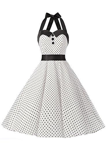 Dressystar Vintage Polka Dot Retro Cocktail Prom Dresses 50's 60's Rockabilly Bandage White XL